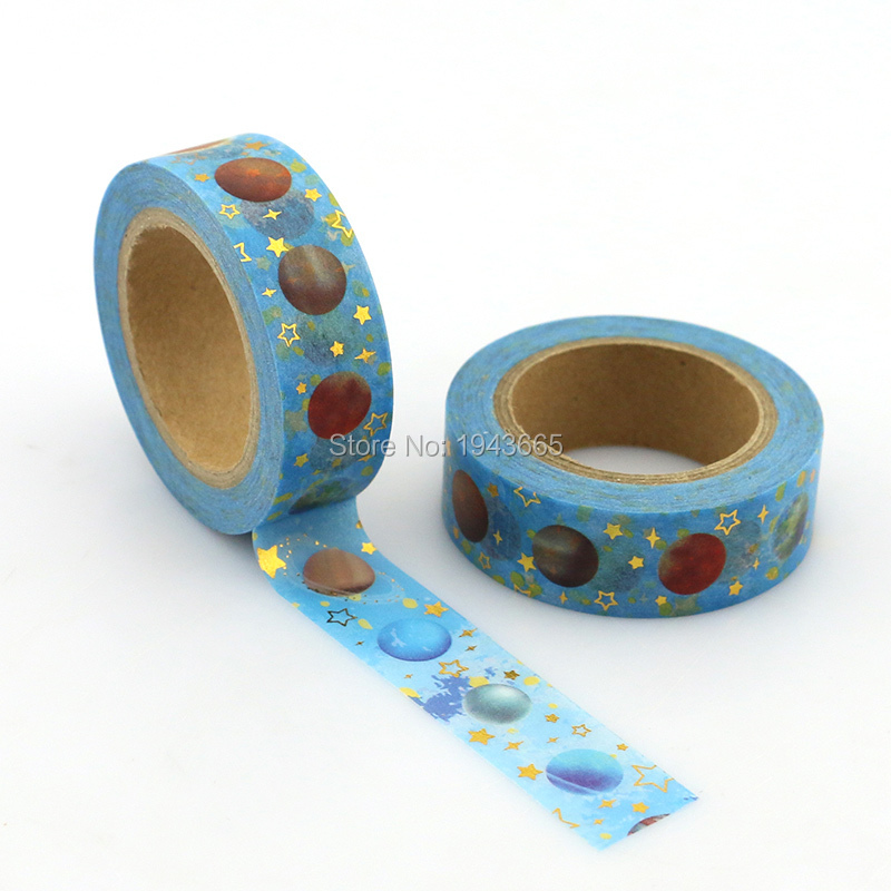 1pcs NEW 15mm*10M Brilliant Starry Planet Foil Washi Tape Star - High Quality Paper Adhesive Tape Blue Sticky Paper Tape Masking