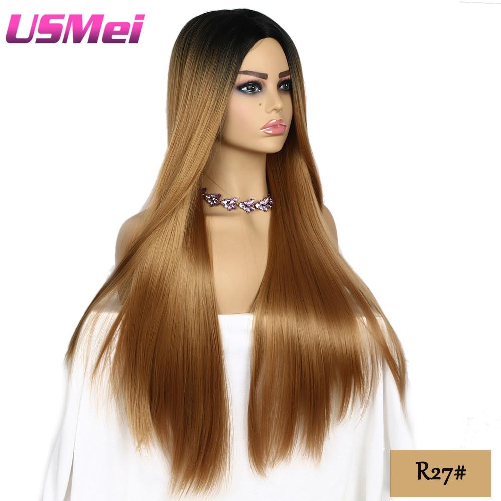 USMEI 30 tum långa raka svarta rötter ombre peruk blonda bruna - Syntetiskt hår - Foto 3