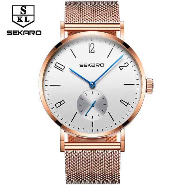 SEKARO 2017 Brand Leisure sports Men's Mechanical Watch Gift Box Roman Steel Ban