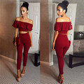 2017 Womens 2 Piece Crop Top Jumpsuit Ladies Slash Neck Short Sleeve Off The Shoulder Playsuit Jumpsuit Bodysuit Flounce Skinny
