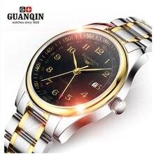 Original GUANQIN Automático Uno Mismo-Viento Reloj Calendario Reloj Impermeable de Los Hombres de Negocios de Lujo Para Hombre Reloj Relogio masculino reloj