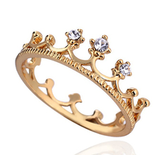 2014  Hot Sale 18K Gold Plated New design ring Crown Ring Party Rings for women Wholesale E-shine Jewelry