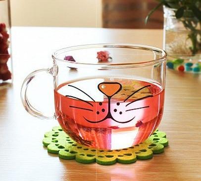 500ml Brand YIZI Transparent kawaii glass cup Cat pattern yizi Beer glass Funny glass water mug