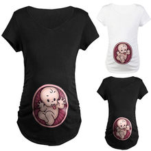Fashion lady cartoon printing cotton casual shirt pregnant women cute baby print O-neck short-sleeved T-shirt pregnant women top(China)