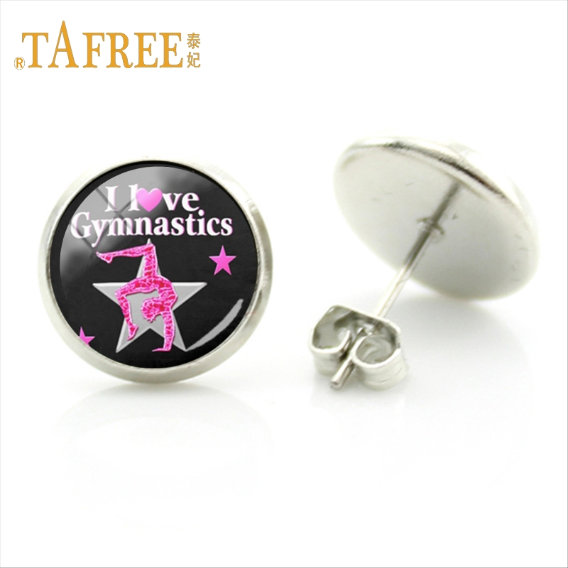 TAFREE Graceful dancer Ballet Student Studs Earring Love Gymnastics art picture Silver Plated Women birthday Jewelry ns558 1