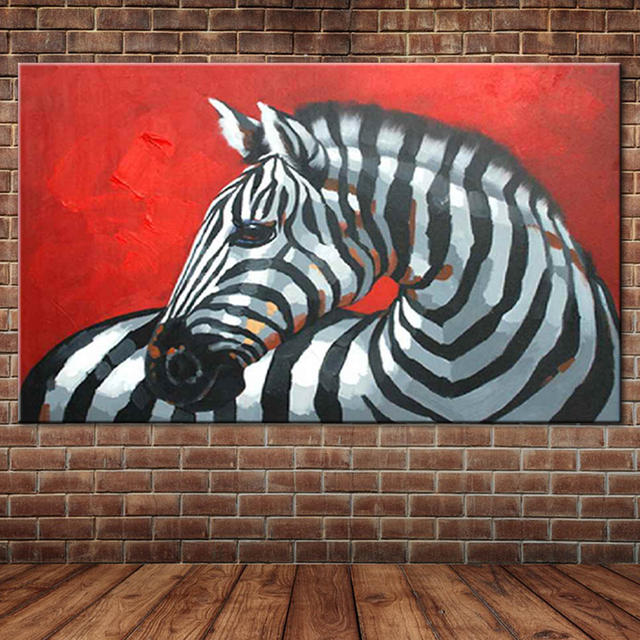 Zebra Oil Painting by Hand Painted Modern Animal Canvas Art Acrylic