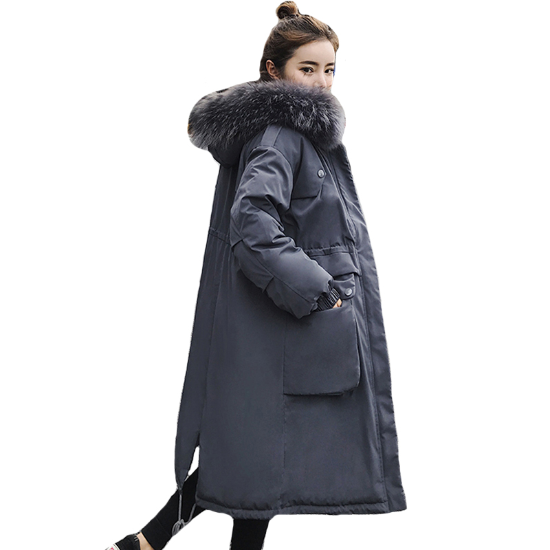 Winter Jacket Women Loose Ovesize Hooded With Fur Outwear Female   Down     Coat   Long With Two Big Pocket Parka Abrigos Mujer Invierno