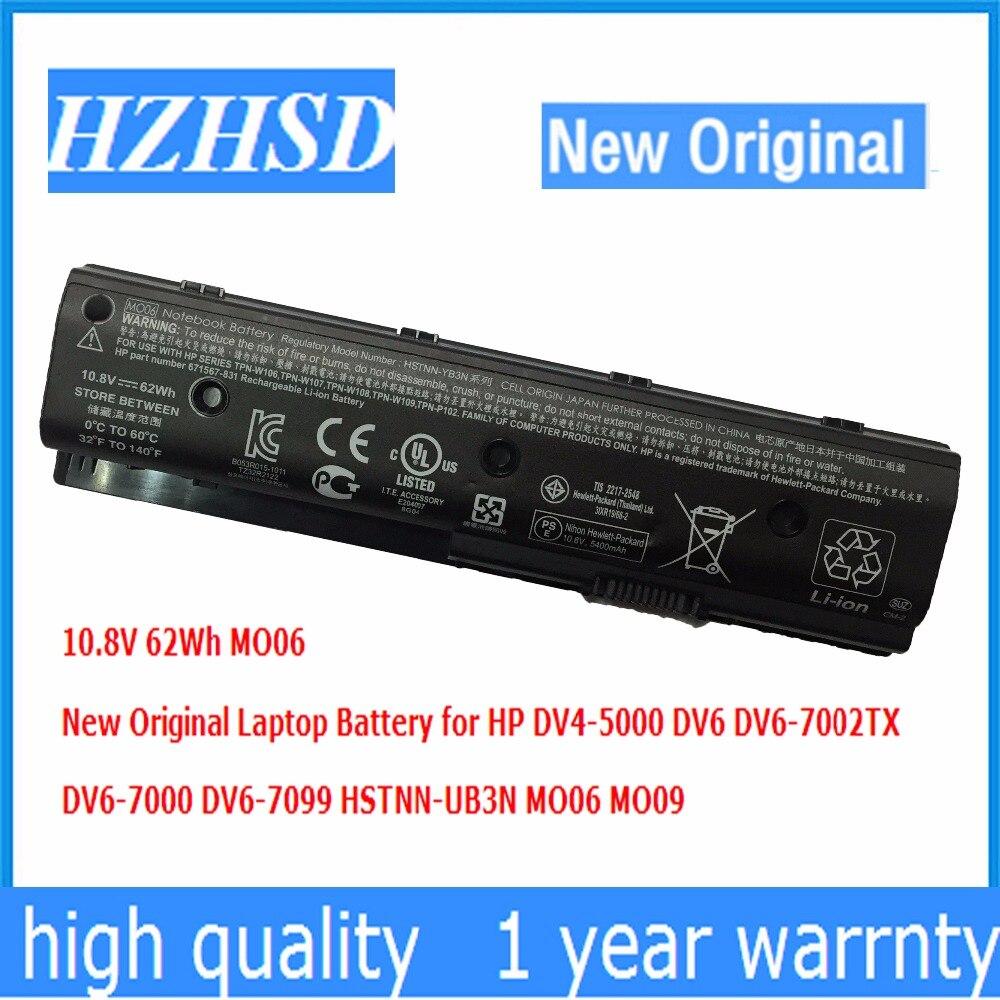 10.8V 62Wh New Original MO06 Laptop Battery for HP DV4-5000 DV6 DV6-7002TX DV6-7000 DV6-7099 HSTNN-UB3N MO09
