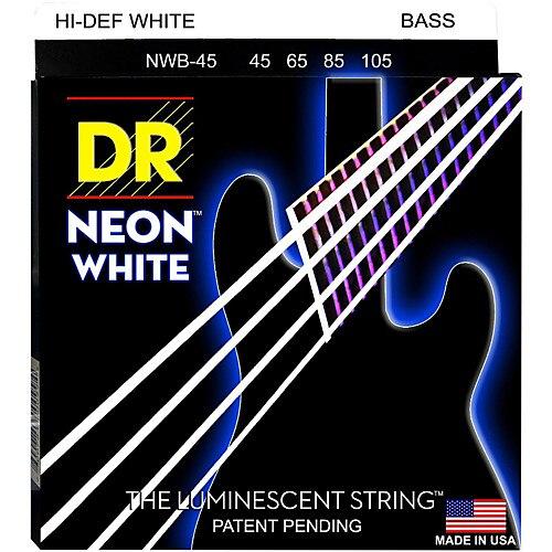 DR K3 Hi def Neon White Luminescent Bass Guitar Strings, Light 40 100 or Medium 45 105 or 5 strings 45 125