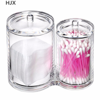 Clear Cotton Ball And Swab Holder Organizer Storage Box Premium Quality Acrylic Round Container Makeup Pads