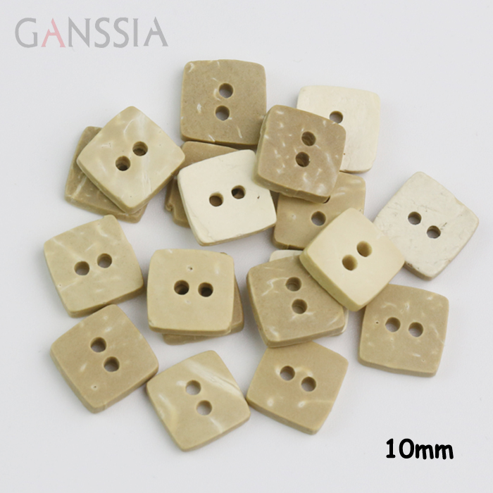 50pcs/lot Size:<font><b>10mm</b></font> Natural coconut shell <font><b>buttons</b></font>, square coconut 2-holes <font><b>10mm</b></font> <font><b>buttons</b></font>, Accssories sewing (ss-139) image