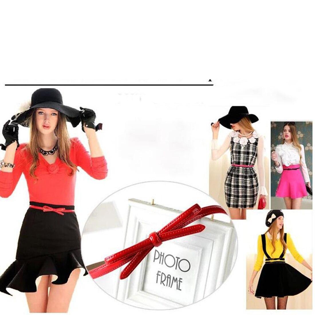 2018 New High Quality Bow Belt Decorative Women Faux Leather Red Bowknot Belt Slim Thin Waist Belt Summer Mini Dress Bow Waist in Women 39 s Belts from Apparel Accessories