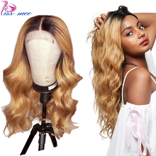 Kiss Mee Honey Blonde Lace Front Wigs Dark Roots Ombre Body Wave Human Hair Wig  Preplucked Brazlian Remy Wig For Black Women