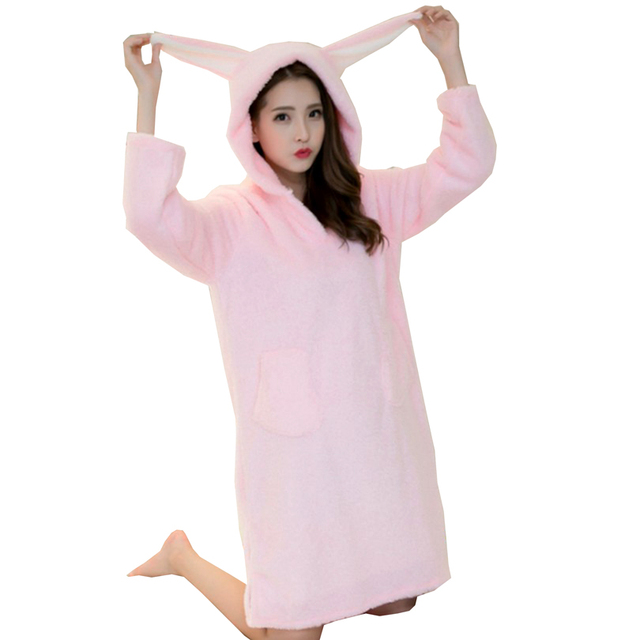 c5c7ab3fb9c3 2017 Winter Sleepwear Casual Coral Fleece Night Dresses Patch Rabbit Ears Pyjamas  Women Warm Hooded Long Sleeve Night Gown