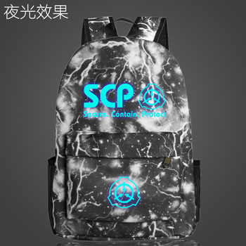 SCP Secure Contain Protect School Bag noctilucous Luminous backpack student bag Notebook Daily backpack Glow in the Dark Mochila