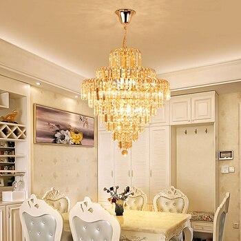 Lustre en cristal d'or de luxe européen éclairage chambre led lampe en cristal ronde salon salle à manger lustre en cristal lampes