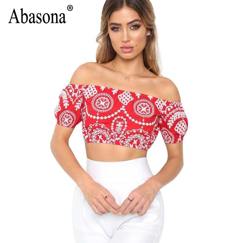 Abasona Summer Crop Tops Women Sexy Boho Style Printed Beach Tank Top Off Shoulder Short Women Tops Cropped Feminino