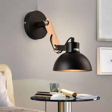 Nordic Modern Wall Sconce Adjust Wooden Iron LED Wall Light Fixtures Balcony Aisle Home Indoor Lighting Bedside Wall Lamps nordic simple modern wall sconce industrial wind adjust iron wall light fixtures bedside led wall lamp home indoor lighting