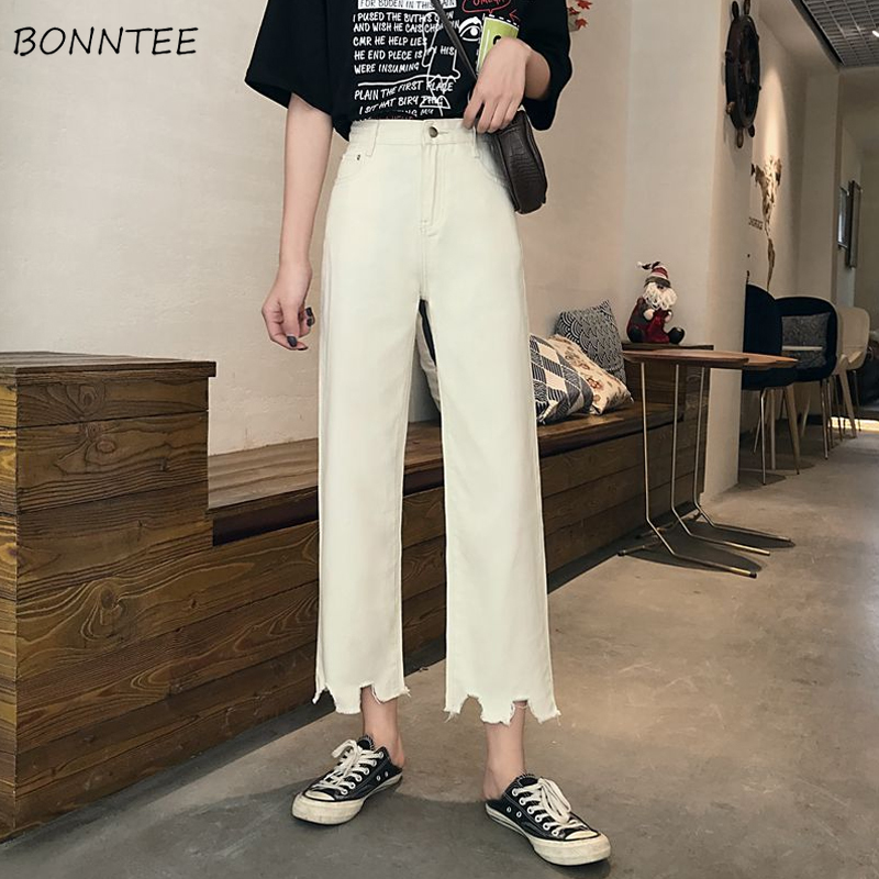 Jeans Women Chic Loose Simple Korean Style Summer Casual Daily Harajuku All-match High Quality Trendy Student Pockets Womens New