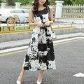Женщины ретро типографской краски широкий платья длинный участок винтажное платье 2016 летний стиль шею рукавов хлопка Большой размер