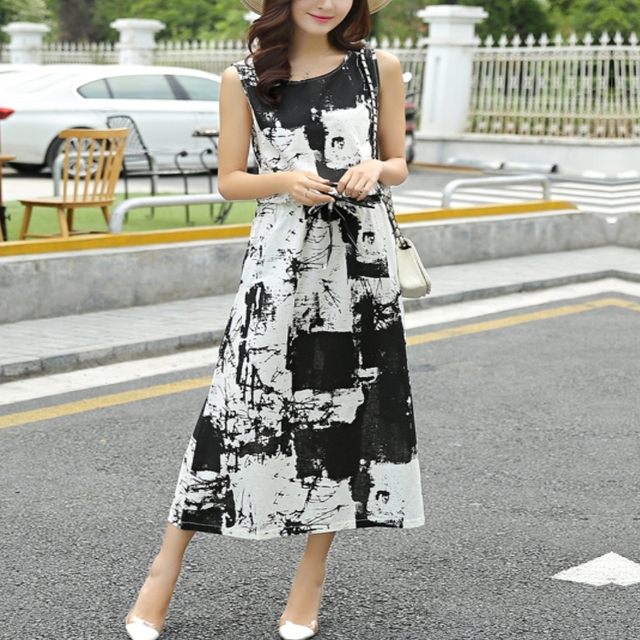 Mulheres Retro solta tinta de impressão vestido longo estilo Vintage 2016 verão sem mangas de algodão vestido Plus Size