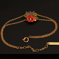 Les Nereides Men Vòng Đeo Tay Thời Trang Đẹp Red Flowers Vòng Đeo Tay Vàng Đảng Jewely Cho Phụ Nữ của Bán S