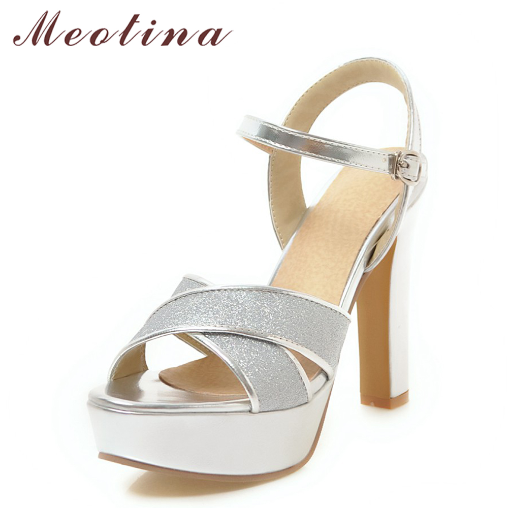 Meotina Women Summer Shoes High Heels Bridal Wedding Shoes Peep Toe Stripper 2018 Platform Sandals Party Silver Large Size 34-43 meotina women wedding shoes 2018 spring platform high heels shoes pumps peep toe bow white slip on sexy shoes ladies size 34 43