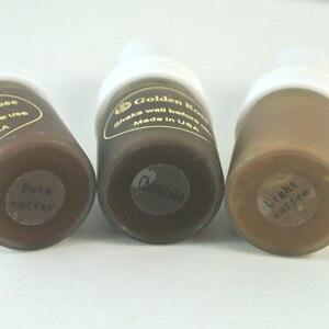 Image 2 - Tinta para tatuaje de café marrón oscuro intenso, 3 uds., pigmento de tinta de maquillaje permanente de rosa dorada para tatuaje de labios y cejas con 12 colores a elegir
