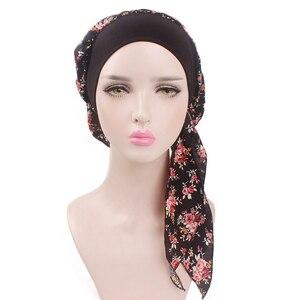 Image 3 - Muslim Women Beanie Turban Hat Head Scarf Stretchy Wrap Bandana Hijab Cap Hair Loss Flower Print Cancer Chemo Cap Arab Indian