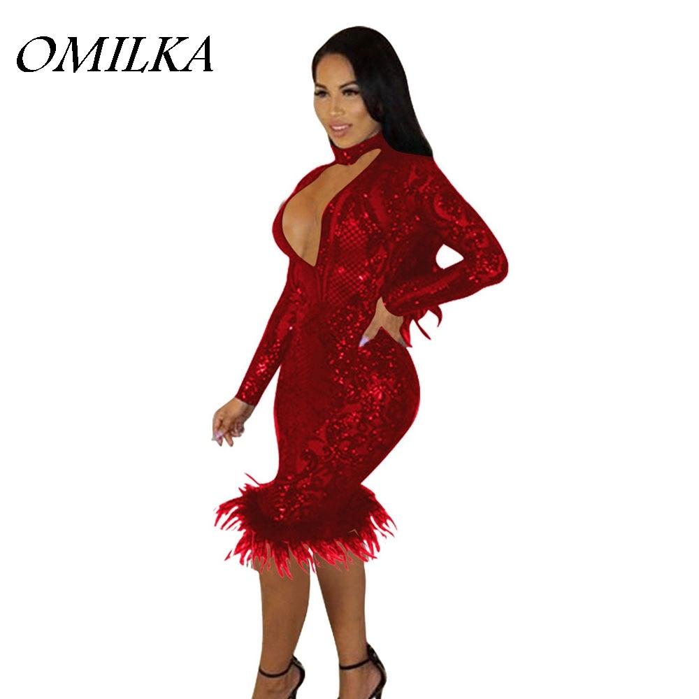 OMILKA 2017 Autumn Women Long Sleeve Deep V Neck Shiny Glitter Fur Sequin  Dress Sexy Night 340e0ef55392