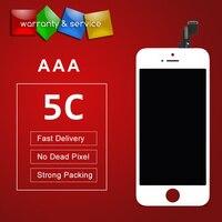 Aaa الجودة 10 قطع ل فون 5c lcd مع شاشة لمس محول الأرقام الجمعية أبيض وأسود اللون شاشة lcd استبدال