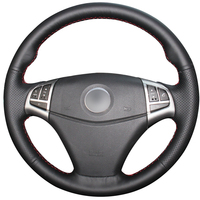 Hand stitched Black Genuine Leather Anti slip Car Steering Wheel Cover for Ssangyong Korando 2011 2014