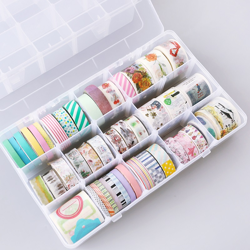 JIANWU 15 Grids Plastic Multifunction Washi Tape Storage Box Scrapbook DIY Learning Office Articles And Stationery