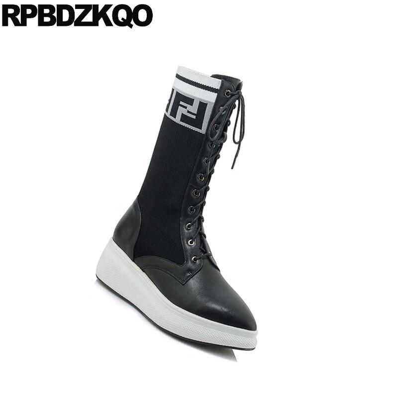 2018 Pointu Muffin Chaussures Casual Bottes Noir Véritable Bout Mi Stretch Tricot Chaussette mollet En Wedge Femmes Cuir Hiver Flatform 6Y7ybfg