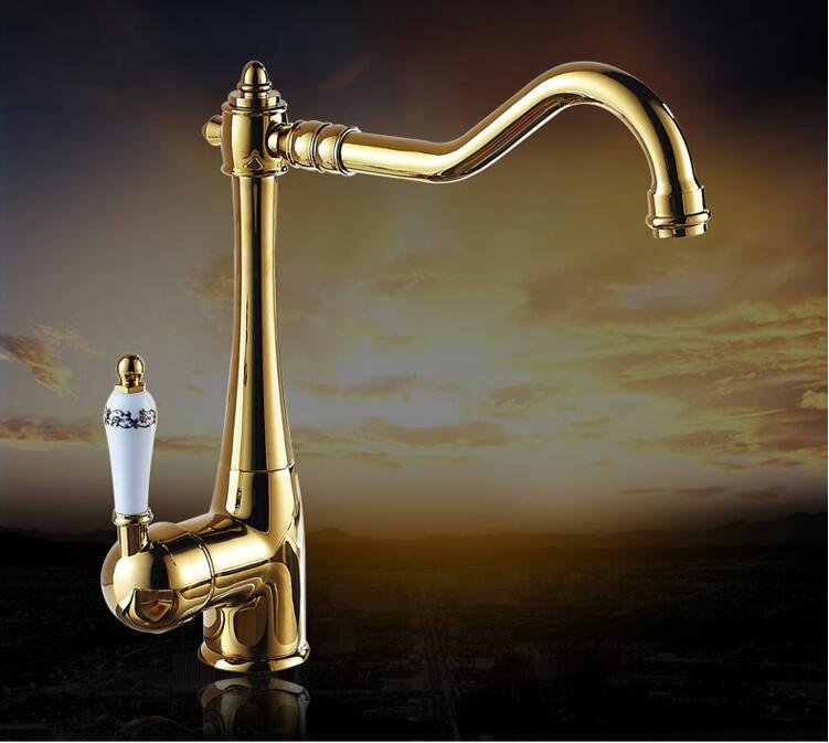 fashion High quality brass gold finished 360 degree rotating hot and cold no lead safe kitchen sink faucet super high quality 304 stainless steel hot and cold no lead brushed basin safe sink kitchen faucet with german technology