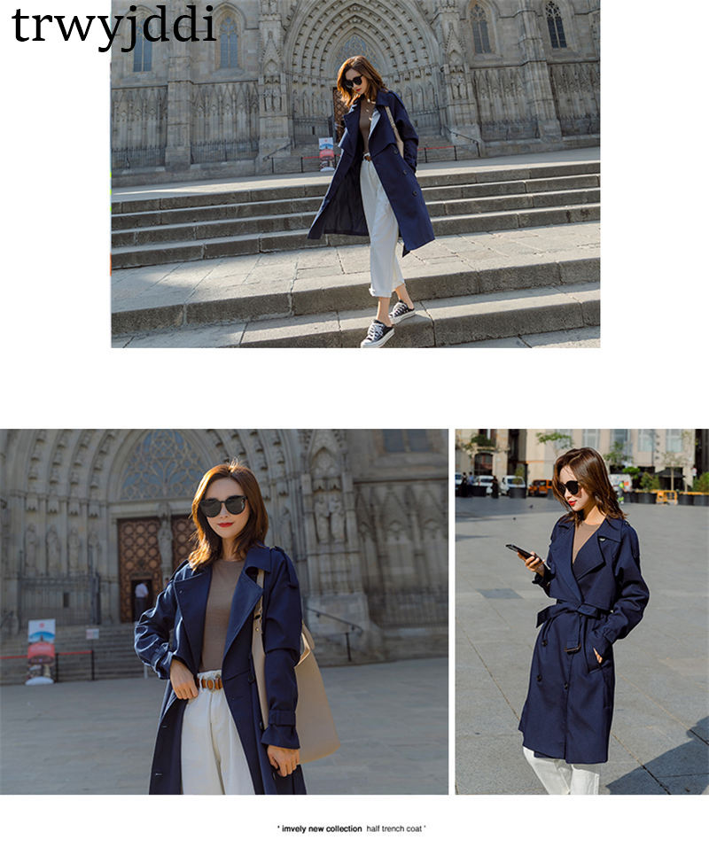 Fashion Windbreaker Coats Long section 19 New Spring Autumn Coat Women Trench Coats Korean Loose Casual Ladies Outerwear N402 11