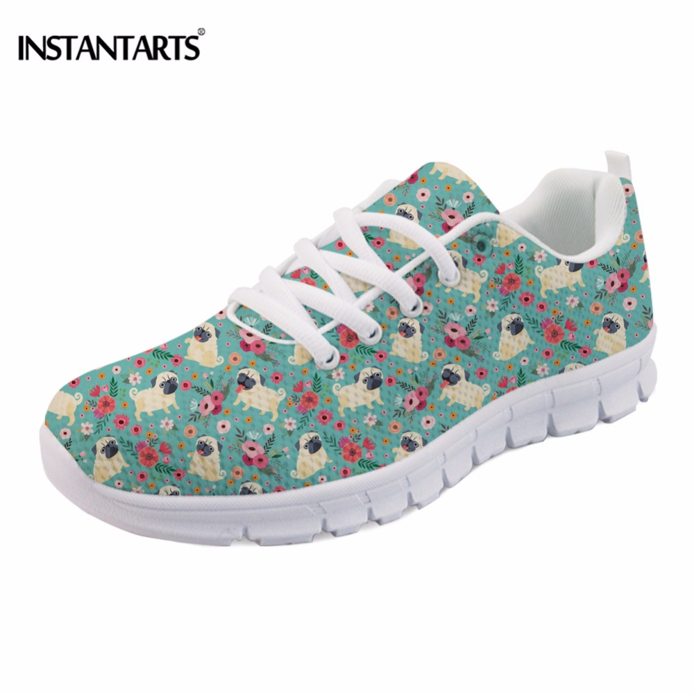 INSTANTARTS Fashion Cute Pug Dog Flower Print Women Flats Shoes Casual Spring Sneaker for Teen Girl Comfortable Mesh Flat Shoes instantarts fashion women flats cute cartoon dental equipment pattern pink sneakers woman breathable comfortable mesh flat shoes