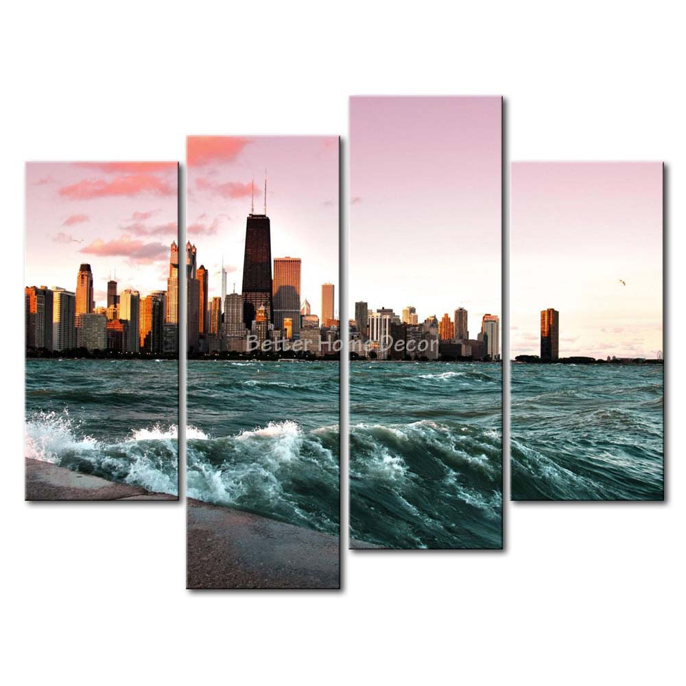Michigan Wall Art 3 piece wall art painting chicago and lake michigan picture print