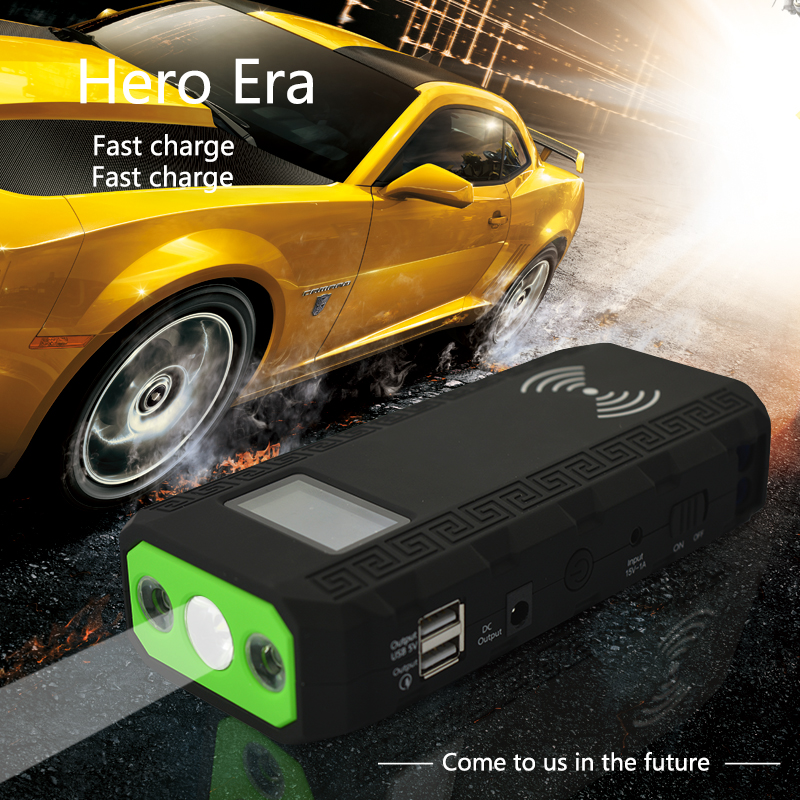 Portable Wireless Charging Power Bank Emergency Rechargable Battery Charger Jump Starter Booster Battery EU plug with LED light