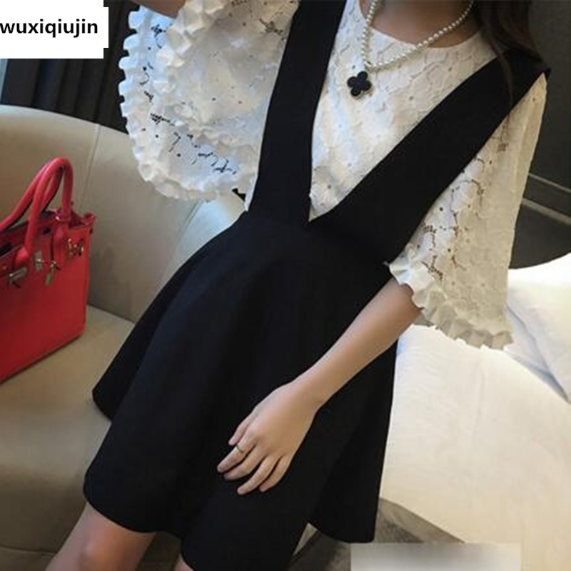Casual women spring and autumn lace+mess short sleeve dress suit OL commuting Empire white lace blouse+blace Braces dress