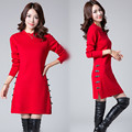 Women New Winter Dresses High Elastic Slim Button Sweater Knitting Dress Trendy Womens Long Sleeve O-Neck Warm Pullover Femme