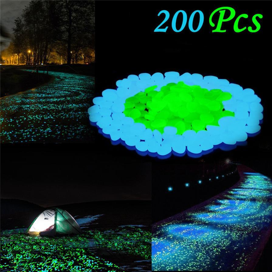 200Pcs Glow in Dark Pebbles Stone Home Garden Walkway Aquarium Fish Tank MAY28