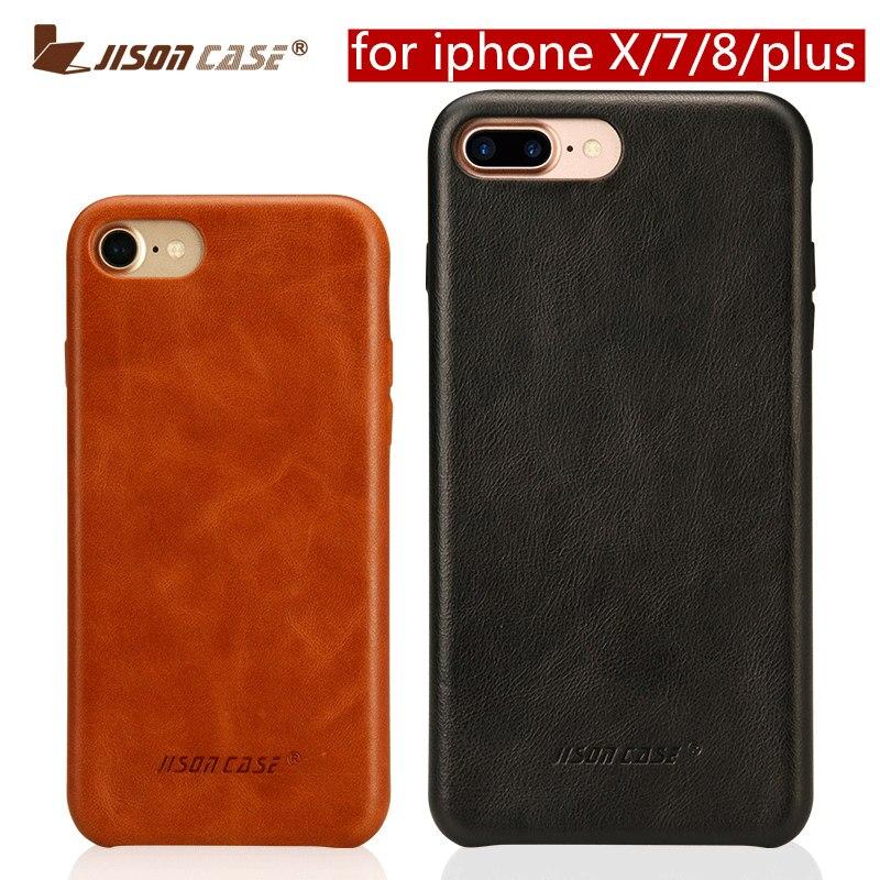 Véritable Cas de Téléphone En Cuir pour iPhone 7 8 pour iPhone X Couverture cas Jisoncase En Cuir Slim Dur de Couverture Arrière pour iPhone 7 8 plus 5.5