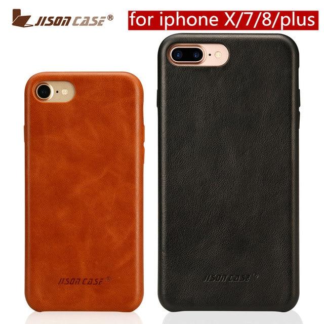 ซองหนังแท้สำหรับ iPhone 7 8 สำหรับ iPhone X Case Jisoncase หนัง Slim Hard Back สำหรับ iPhone 7 8 PLUS 5.5