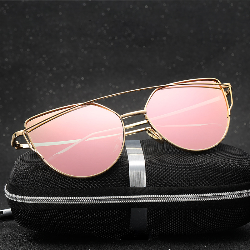WOWSUN Quality Popular Women Sunglasses Cat eye metal frame Clear Glasses A935