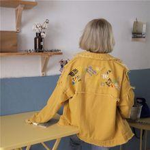 Mujeres otoño coreano bordado pantalones chaqueta Casual de manga larga  Denim solapa Denim chaqueta abrigo( 5320e21ac493