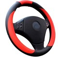 Free shipping 1pcs Red Orange Brown White PU Leather Cowhide Car Steering Wheel Cover With Needles and Thread 4 Color