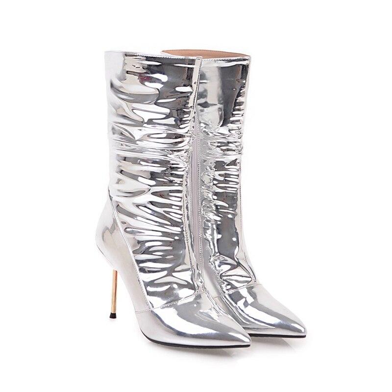 Delgados Enmayer De Otoño Mujeres Pie Tacones Cremallera Calzado Invierno Plata Silver Cr1196 Tacón Zapatos Cortas Botas E Tobillo Del Dedo Alto 4xwfx