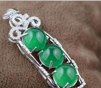 S925 pure silver inlay green round bead string beans style pendant bead string necklace charm female style
