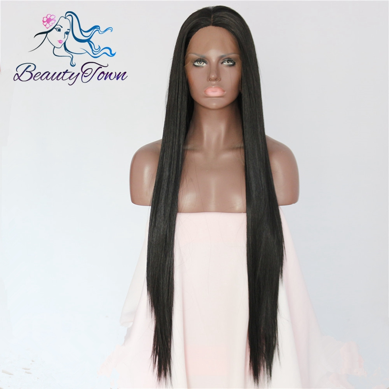 BeautyTown Handmade Long Natural Straight Black Glueless Heat Resistant Daily Makeup Synthetic Lace Front Wigs for